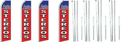CAR WASH NOW OPEN King Windless Flag Sign With Complete Hybrid Pole set Pack of 2