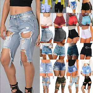 Women-High-Waisted-Jeans-Shorts-Ripped-Destroyed-Hole-Denim-Pant-Hot-Pant-Summer