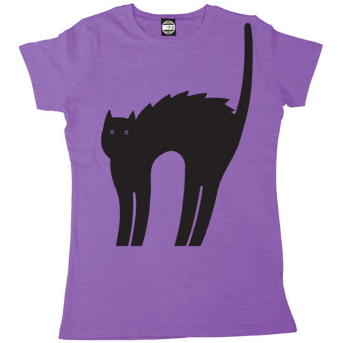 HALLOWEEN SPOOKY CAT WOMENS PRINTED FANCY DRESS T-SHIRT