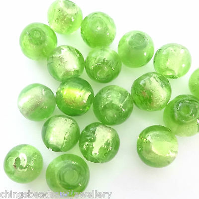 20 Green Silver Foiled Glass 8mm Round Beads