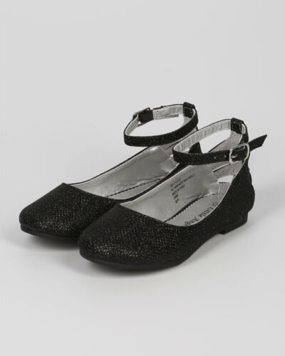 New Girl Little Angel Britt-813 Glitter Fabric Cutout Ankle Strap Ballet Flat