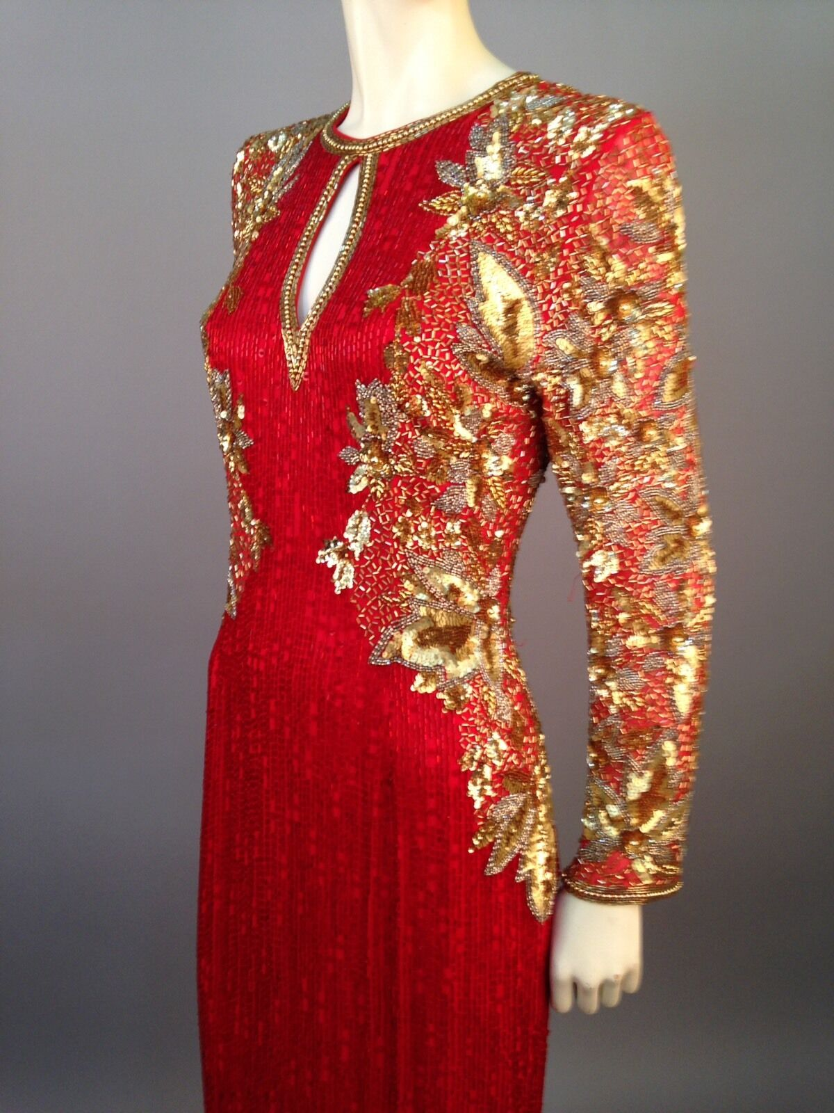 Vintage Lillie Rubin Dynasty Red Beaded Gown