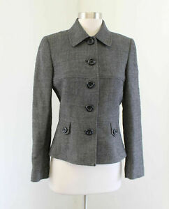 Tahari ASL Levine Gray Black 100% Wool Button Front Blazer Jacket Size 4