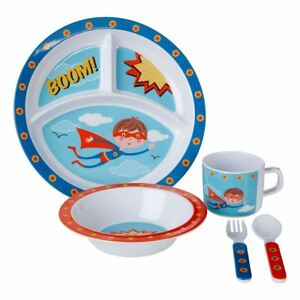 5pc-Enfants-Garcons-Filles-Enfants-Assiette-Bol-Tasse-Cuillere-fourchette-Dejeuner-Diner-Picnic-Set