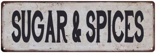 SUGAR /& SPICES Vintage Look Rustic Metal Sign Chic Retro 106180035150