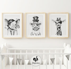 Details About Baby Boy Nursery Bedroom Wall Art Prints Pirate Elephant Lion Giraffe Safari