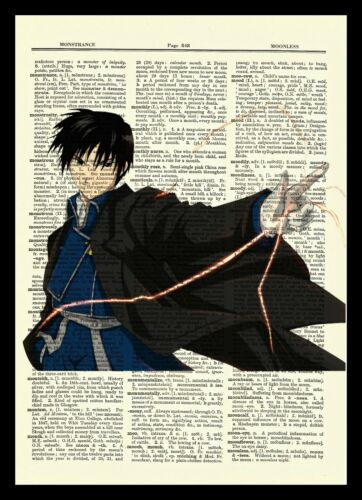 Roy Mustang Fullmetal Alchemist Anime Dictionary Art Print Poster Full Metal