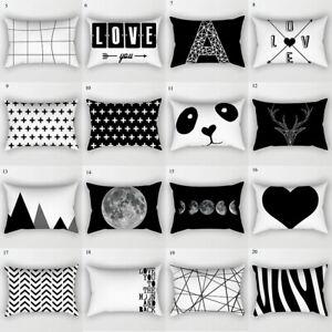 Black White Geometric Cushion Cover Home Decor Map Pillowcase Cover Pillow Case
