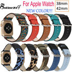 For Apple Watch Series 1 Series 2 38 /42mm PU Leather Canvas Watch Band Strap