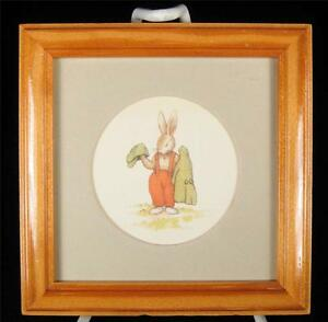 Royal-Doulton-Bunnykins-Bunny-with-Hat-amp-Jacket-Framed-Picture-1988