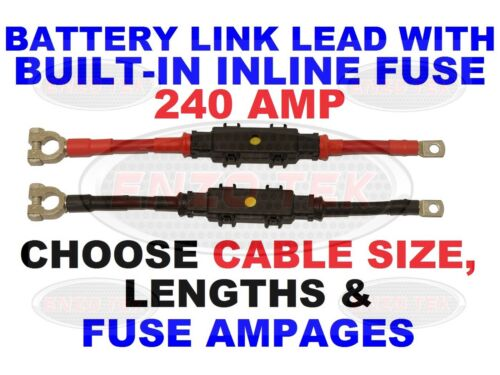 """240 AMP LEISURE BATTERY LINK LEAD BUILT-IN INLINE FUSE CLASSIC KIT CAR 49-118/"""""""