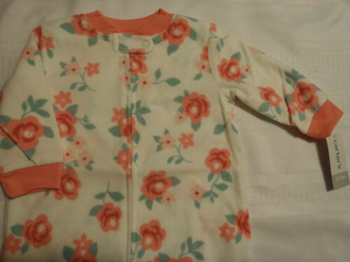 CARTERS Baby Girls 0-9 Month Fleece Pajama Zip Front Sleepbag NWT Pajama