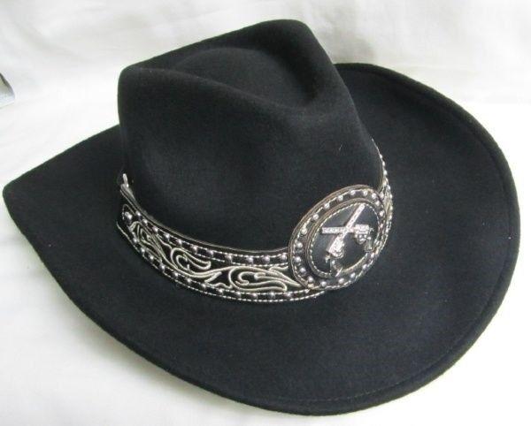 Western Cowgirl Sombrero de Fieltro Montana West-Med Nuevo Negro con pistolas de 9020