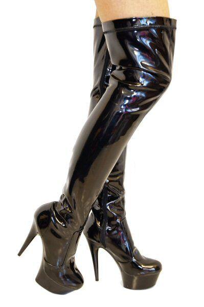 Venta rápida Erosella Angie 02 Negro Patente Elástico Botas de alto del muslo