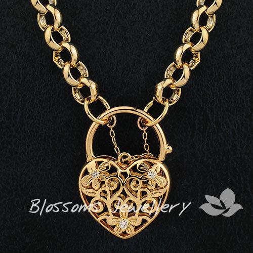 9K GOLD GF Daisy HEART Padlock Belcher CHAIN Long NECKLACE Swarovski CRYSTAL S31