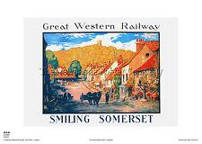 SOMERSET DUNSTER RAILWAY POSTER RETRO VINTAGE  HOLIDAY TRAVEL ADVERTISING ART