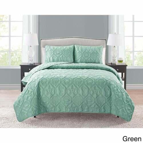 Solid Green Beach Coastal Seashells 3 pc Quilt Set Coverlet Queen King Bedding
