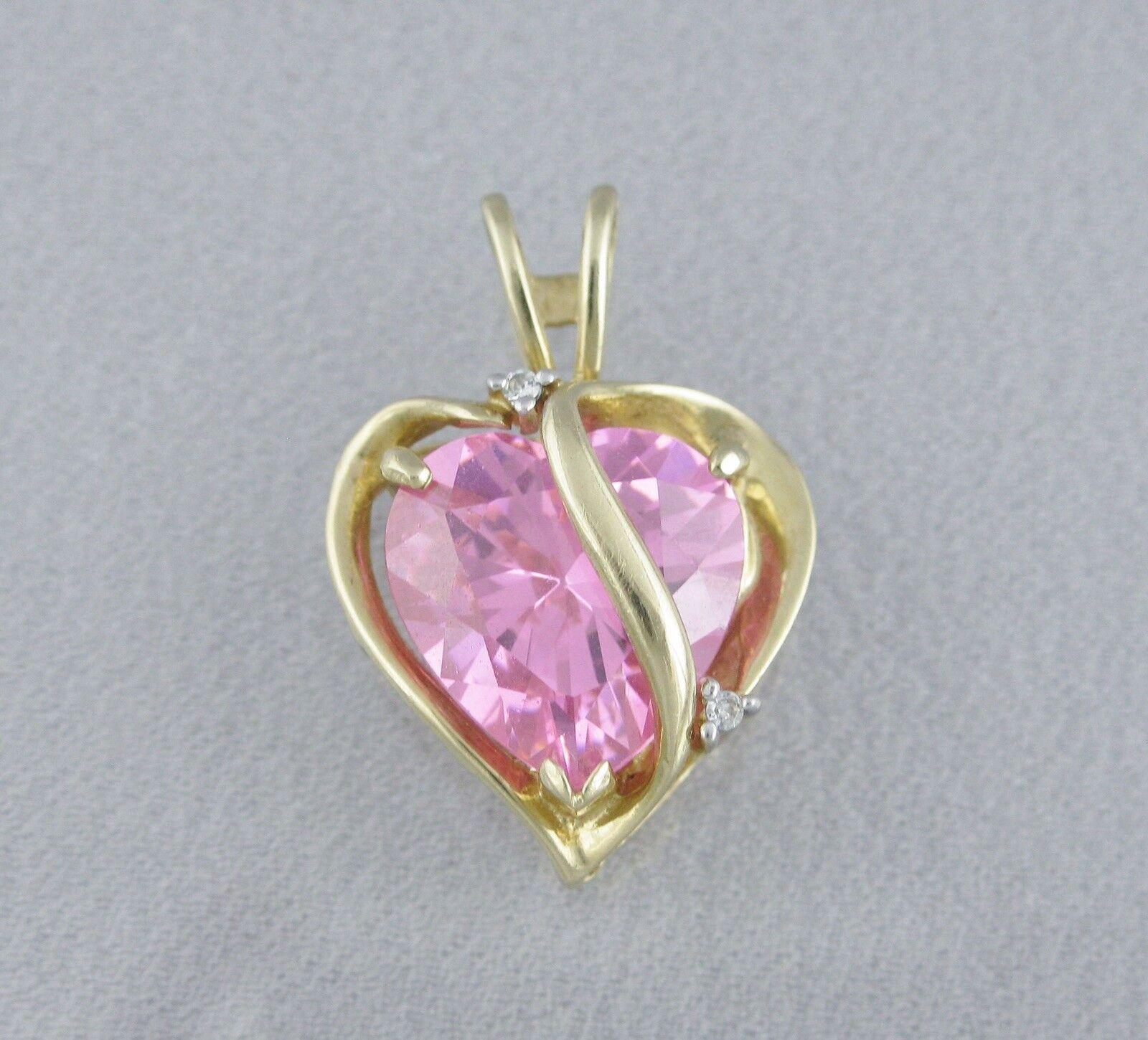 14k Yellow gold Simulated Pink Tourmaline Cubic Zirconia Heart Pendant