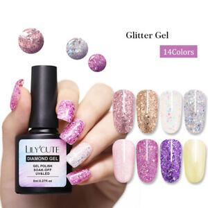 LILYCUTE-8ml-Glitter-Sequins-Nail-Gel-Polish-Sparkly-Soak-Off-UV-LED-Gel-Varnish