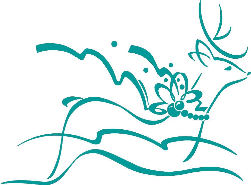 (WD0802 türkis) Applikation Dekor • Springendes Rentier • versch. Größen