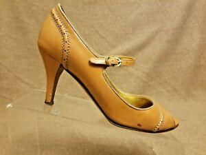 J-Crew-Women-Shoes-Corral-Beige-Leather-Pumps-Mary-Jane-Peep-Toe-Heels-Size-7-5