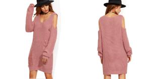 Women V Neck Knitted Chunky Cold Off Shoulder Rip Destroyed Jumper Dress