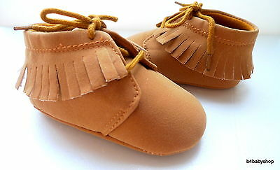 *Classic baby girl pink fringed boots shoes soft soles 3-6M 6-12M 3 Sizes NEW!