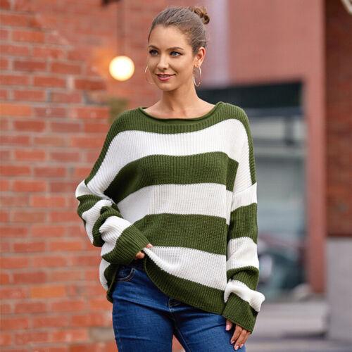 Damen Patchwork Strickpullover Pulli Pullover Sweater Sweatshirt Oberteil Mode