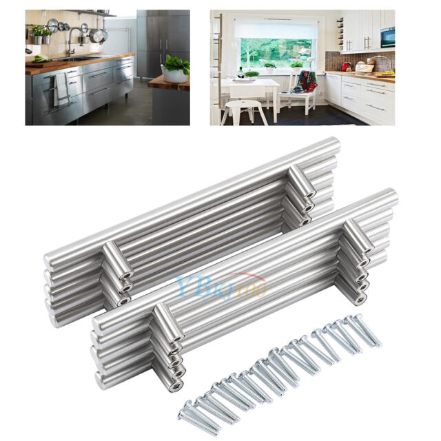 20 Stainless Steel Kitchen Cabinet Door T Bar Cupboard Drawer Handle Pulls