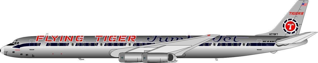 If863ft01p 1 200 200 200 Fliegend Tigers Jumbojet Schema Dc-8-63f N779ft Poliert   Steh 0572fd