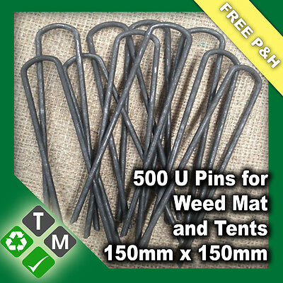 500 x Anchor Pins Pegs for Weed Mat Tent Pegs Tarpaulin Pins 150mm x 150mm