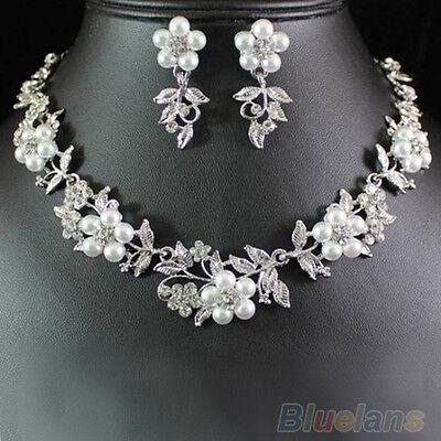 Fashionable Pearl Austrian Rhinestone  Earrings Set Bridal Crystal Necklace BCAU
