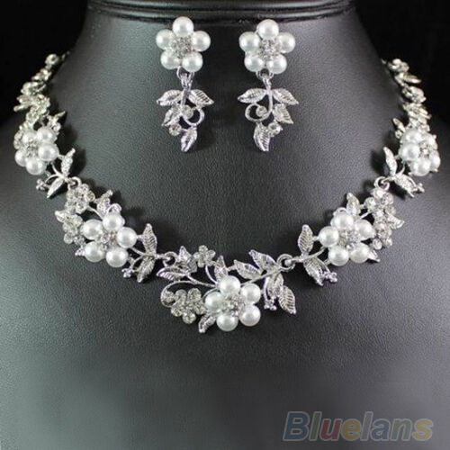 Women's Floral Faux Pearl Silver Plated Necklace Earrings Bridal Jewelry Set B5A