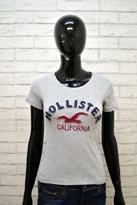 Maglia-Grigia-Donna-HOLLISTER-Taglia-S-Blusa-Manica-Corta-Shirt-Woman-Slim
