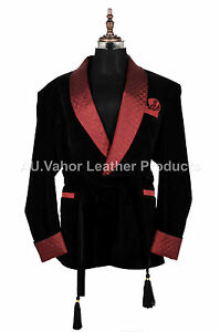Men-Elegant-Luxury-Stylish-Designer-Black-Belt-Smoking-Jacket-Party-Wear-Blazer