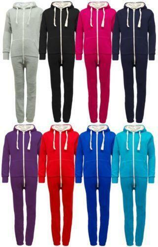 Kids Plain Onesie1 Boys Girls Hooded All In One Jumpsuit Unisex
