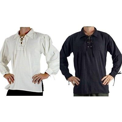 Renfair Costume Shirt Pirate Hippie White Medieval Caribbean Men Summer Top