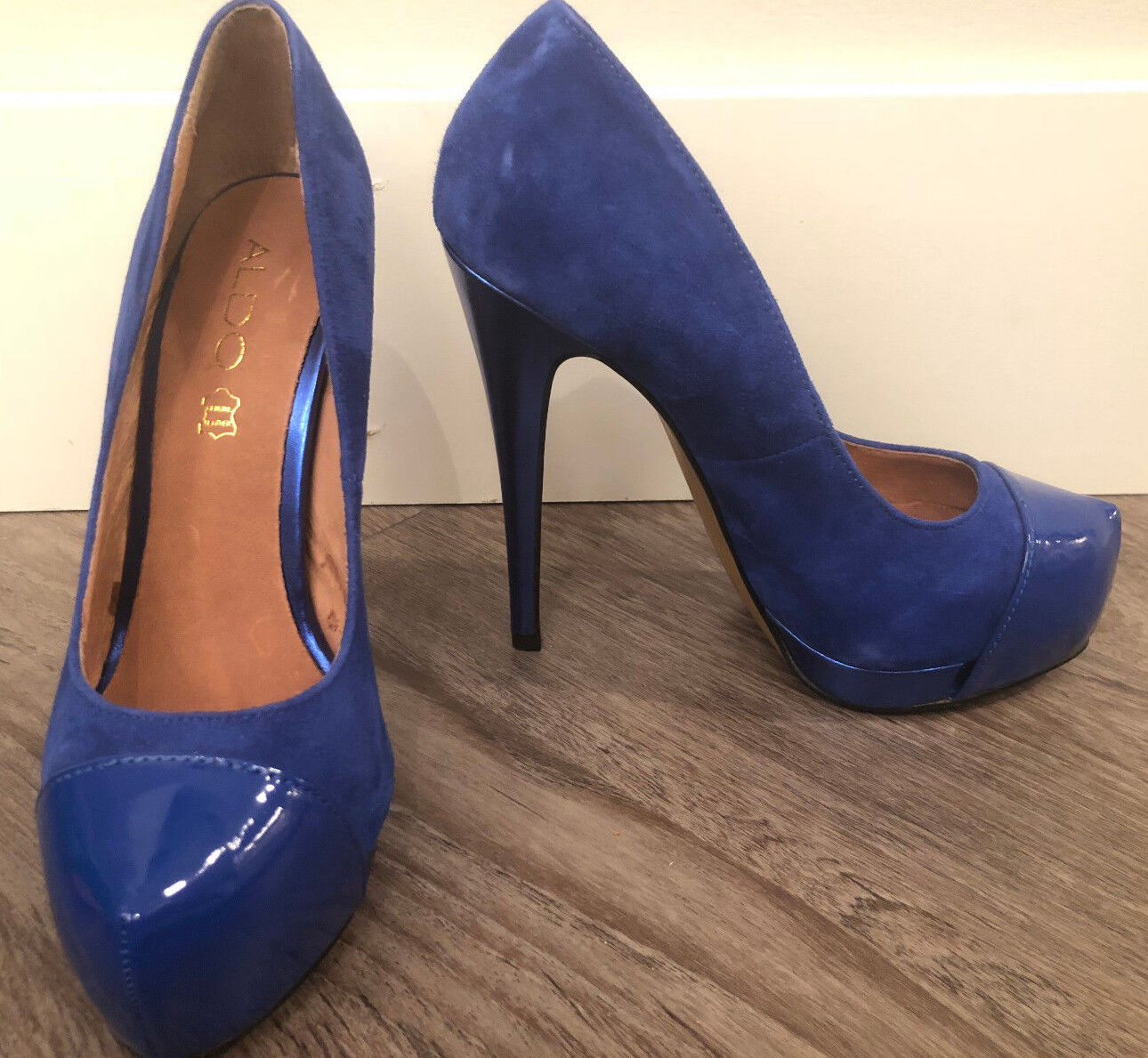 ALDO Women's Royal Bright bluee Patent and Suede High Stiletto Heel Size 6.5
