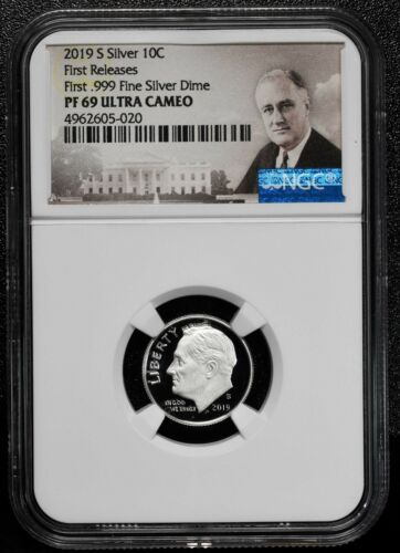 2019 S Silver Proof Roosevelt Dime NGC PF69 First Releases .999 Coin SKU C40