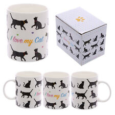 I Love My Cat Design Bone China Mug Cream Black Silhouettes Tea Coffee MUG188