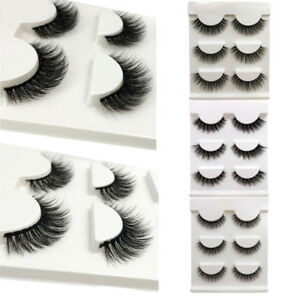 3 Pairs 3D 100%Mink Natural Long Volume False Eyelashes Eye Lashes Makeup Cilios