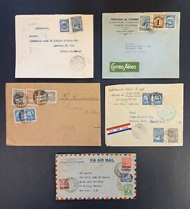 Colombia-S-C-A-D-T-A-Scarce-Postal-History-Lot-of-5-Airmail-Covers