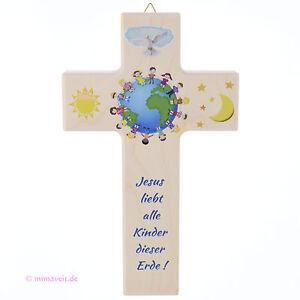 Details zu Kinderkreuz zur Taufe oder Kommunion Kreuz Jesus liebt alle  Kinder dieser Erde