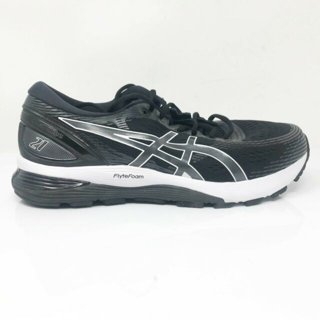Asics Mens Gel Nimbus 21 1011A172 Black Running Shoes Lace Up Size 11 Wide