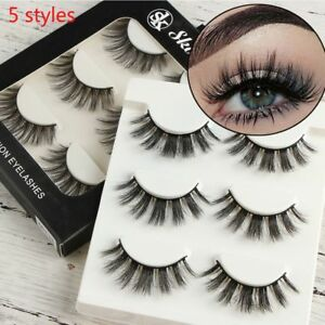 b3388d3feee Image is loading Mink-Hair-False-Eyelashes-Extension-Thick-Cross-Long-