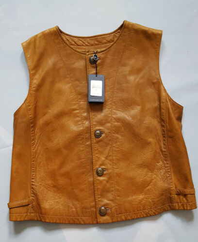Vest Ralph L Blue Lauren Leather Southbury Size 767325641843 Label Brown nOYRpO6w