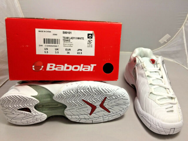 Babolat Womens Team Lady II White/Silver Tennis Shoes - S80101 - 25560 Size 5.5