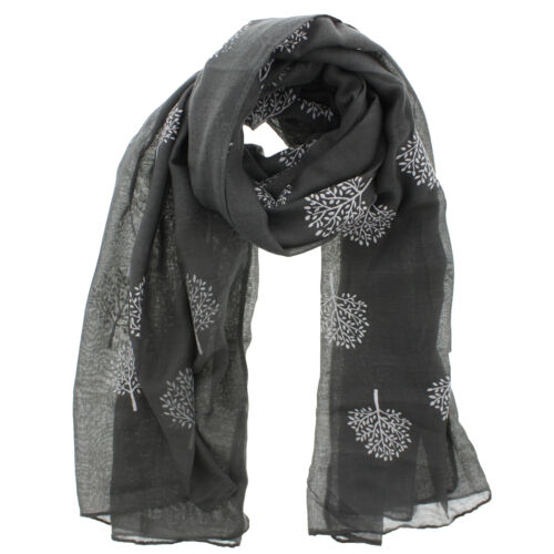 Long Lightweight Women Ladies Scarf with White Tree Print