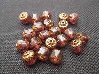 20 böhmische Barock Perlen geschliffen lila 6x6mm 10138
