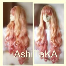 Macross F Sheryl Nome Long Wavy Light Blonde Pink Dream Ombre Hair Cosplay Wig